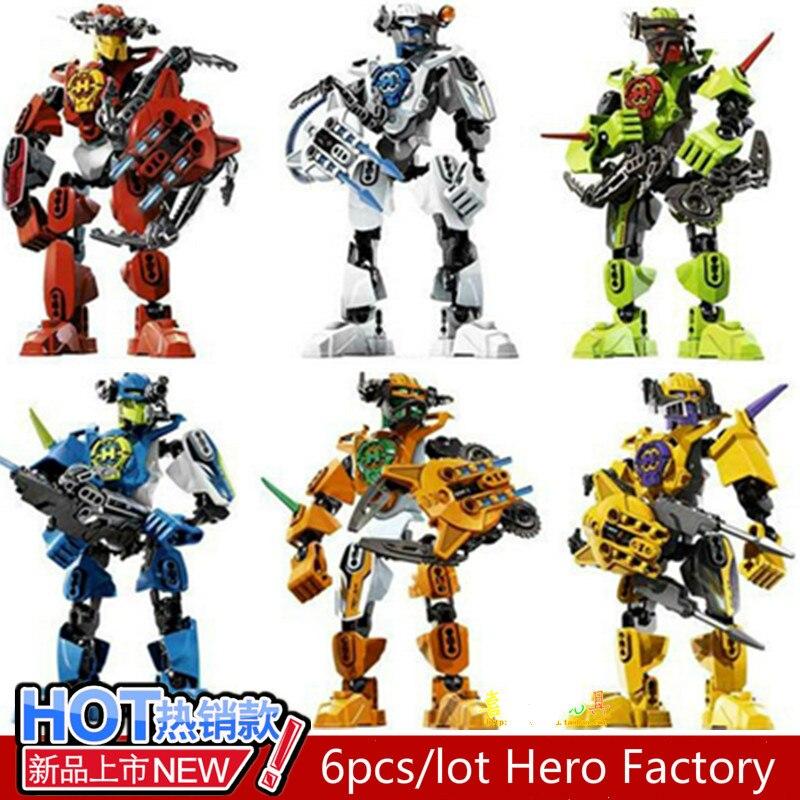 6pcs/lot  Hero Factory Figures Building Blocks Action Figures StarWar Solider Toys Kids Bricks