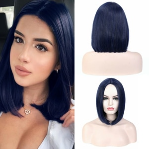 Benegem Synthetic Straight Short Bob Wigs For Black And White Women Middle Part Hairs For Party Daily Use Heat Resistant Cosplay