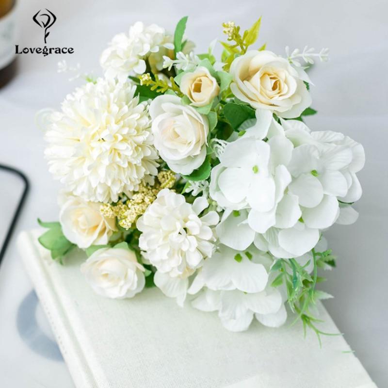 Ramo de novia de Lovegrace Artificial seda Rosa peonia flor ramo de novia Rosa Hortensia pompón Bud vainilla espiga suministro de boda