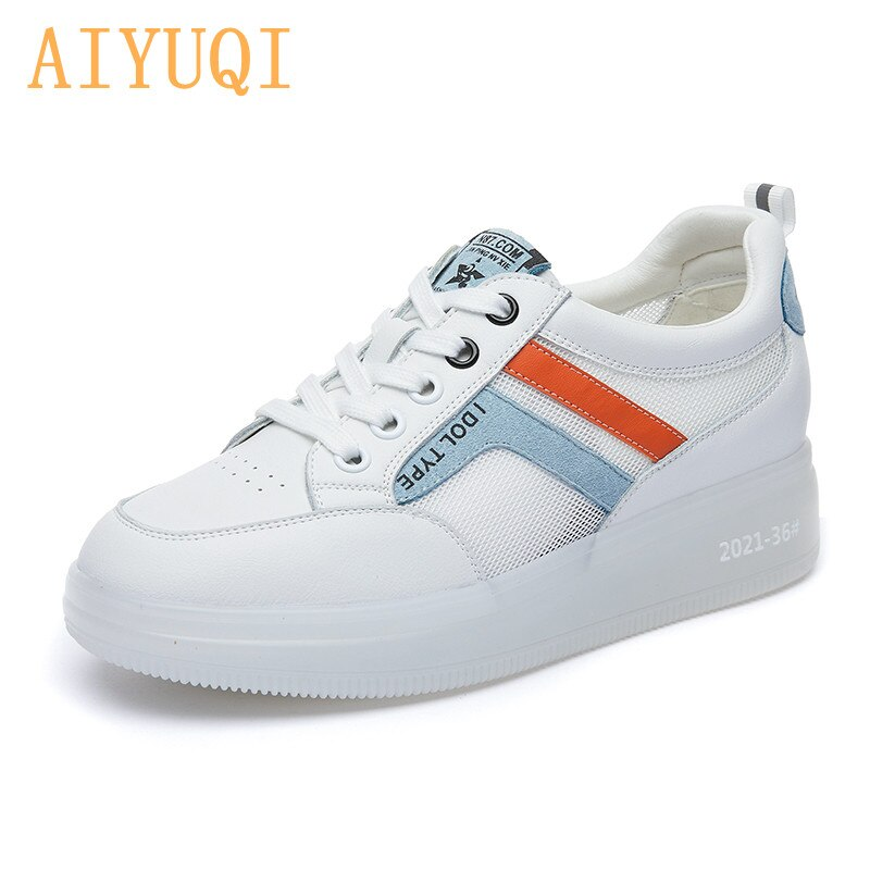 AIYUQI White Shoes Women Mesh 2021 Girl Summer Shoes New Thick-soled Casual Trendy Body Height Incre