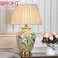 bright ceramic table lamp desk light luxury modern led pattern design for home bedroom living room