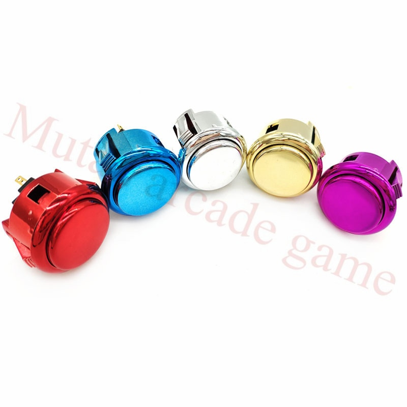 5 Pçs/lote 33mm cromado banhado a ouro cópia sanwa botão máquina de jogo de arcade botão redondo com construído em micro