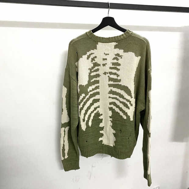 Kapital - men's and women's bone print sweater, high quality Vintage knitted sweater, hole, street damage, green, 1:1
