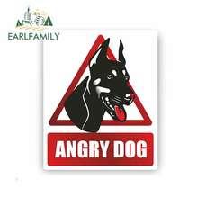 EARLFAMILY, 13cm x 11,2 cm, pegatina para coche, perro enojado, advertencia, precaución, cuidado, señal, diseño impermeable para coche