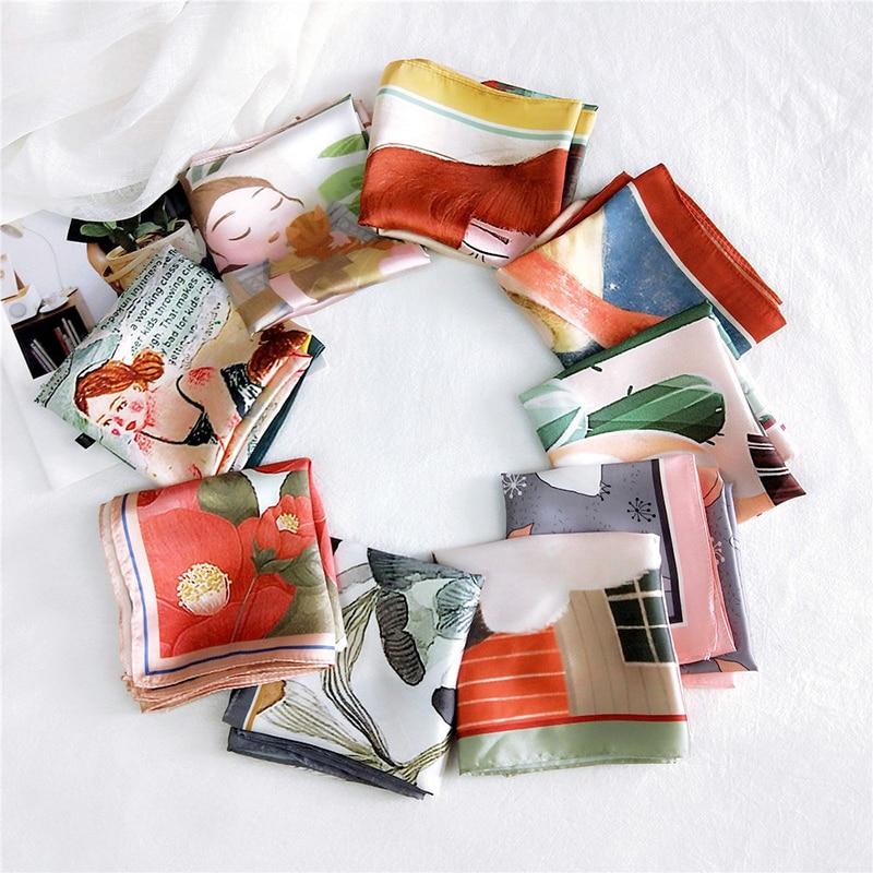 Сделай сам ручка сумка ленты женщины квадрат шарф маленький шелк атлас шарф голова шея волосы шарф повязка на голову мода принт волосы галстук лента