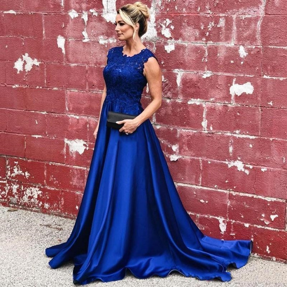 Blue Evening Dresses 2021 Lace Sleeveless Long Women Formal Prom Dresses Party Gowns Sweep Train ves