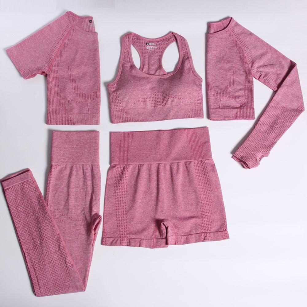 ACHHHE 2/3/5PCS Seamless Yoga Set Women Gym Tracksuit Top Crop Fitness Clothing Bra Leggings Suits High Waist Pants Sportswear