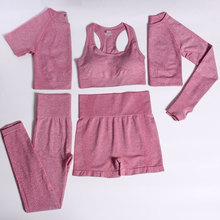 ACHHHE 2/3/5PCS Seamless Yoga Set Women Gym Tracksuit Top Crop Fitness Clothing Bra Leggings Suits H