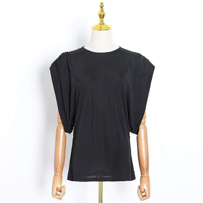 TWOTWINSTYLE, camiseta informal negra para mujer, cuello redondo, manga corta, hombrera, talla grande minimalista, camisetas para mujer, verano 2020