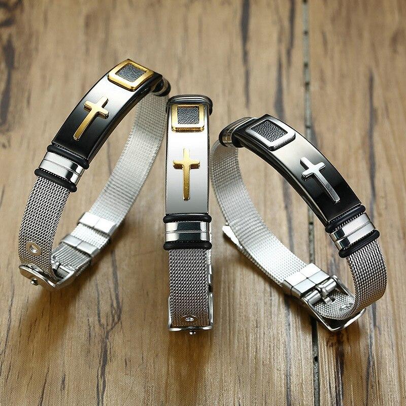 Черный/серебристый/золотистый браслет для мужчин, женские часы-браслет, дизайнерский браслет из нержавеющей стали, сетчатый Браслет, христ...