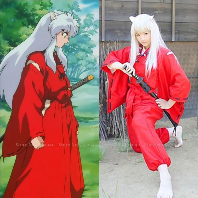 Japanese Anime Inuyasha Cosplay Costume Men Women Red Kimono Yukata Robes Haori Tops Pants Samurai Cos Witch Party Wear Outfits