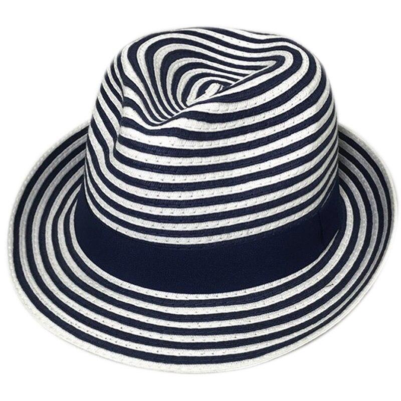 Sombrero de verano para mujer, sombrero de paja para mujer, sombrero Panamá azul, blanco, a rayas, Patchwork, playa, marca de señoras, sombrero de Jazz