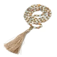 frosted amazonite golden lantern bead buddha head tassel necklace meditation yoga blessing men and women charm rosary jewelry