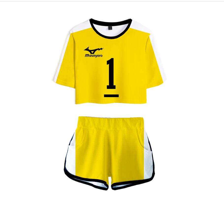 Anime Volleyball Junior Haikyu Suit Sportswear Two-Piece Sexy Short Top and Mid-Rise Summer