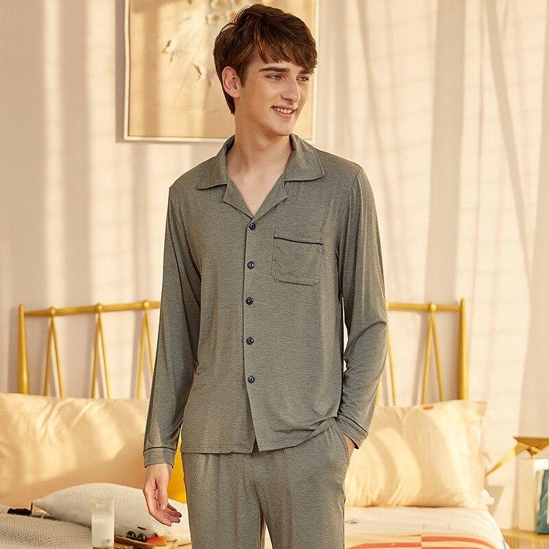 Autumn Winter Men Modal 2PCS Pajamas Sleepwear Casual Soft Bathrobe Sleep Set Long Sleeve Shirt&pant Pijamas Suit Home Clothes