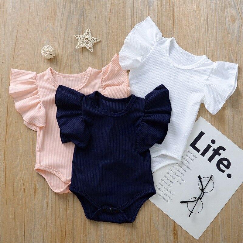 Милая летняя одежда для новорожденных девочек, боди, хлопковые однотонные Комбинезоны для маленьких девочек