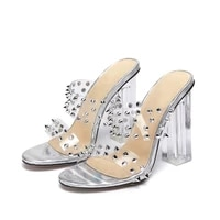 slippers women summer luxury 2021 new fashion rivet crystal high heels zar a woman shoes on heels sandals plus size chaussure