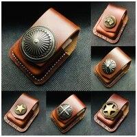 high quality multi style genuine leather kerosene oil lighter belt case waist bag for zippo fashion lighters smoking gadgets