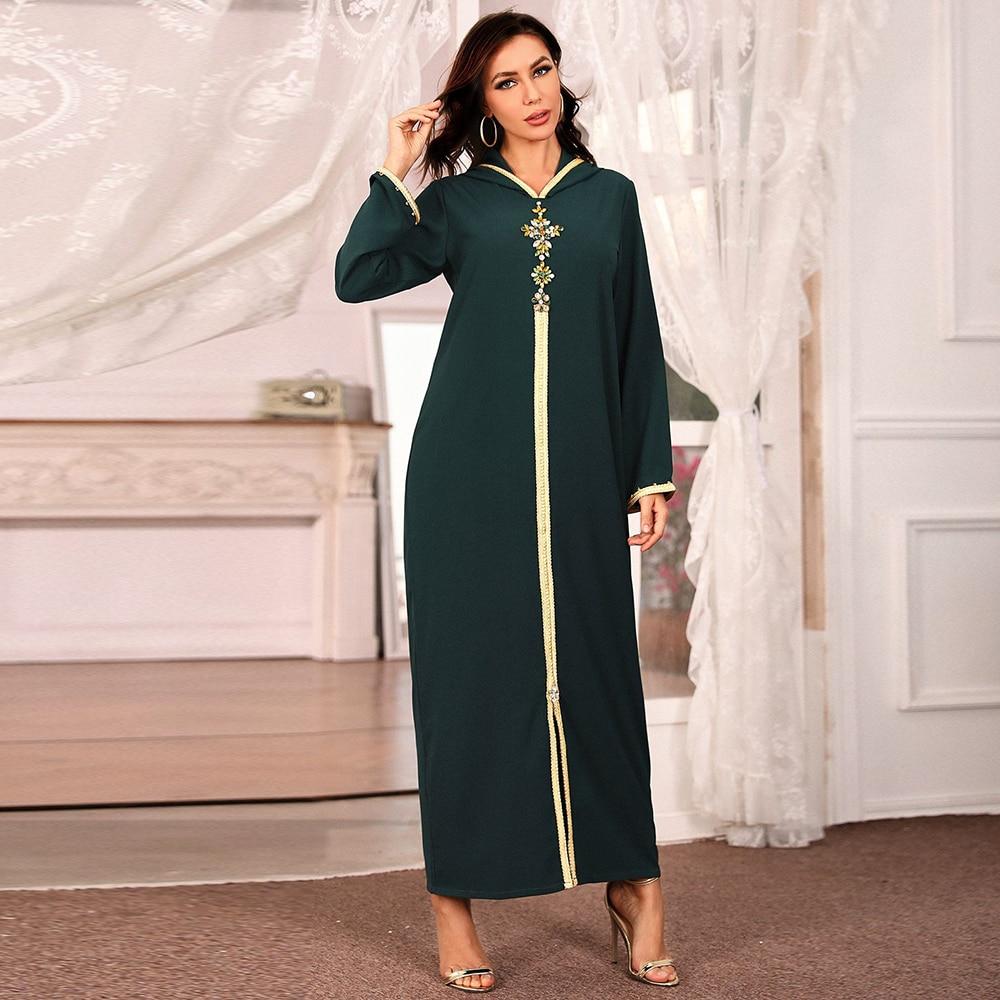 Abaya Dubai Turkish Muslim Fashion Turban Dress Islamic Clothing African Long Skirt Women's Robe Women's Dress Dresses cross border women s clothing vintage printed palace style large swing dress dubai long dress clothes for muslim women