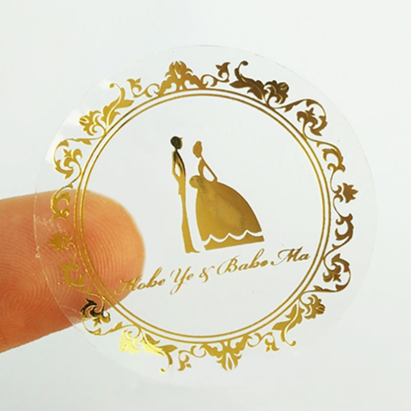 Custom Transparent Personalized Stickers Bronzing Business Custom Label Personalized Round Waterproof Wedding Labels