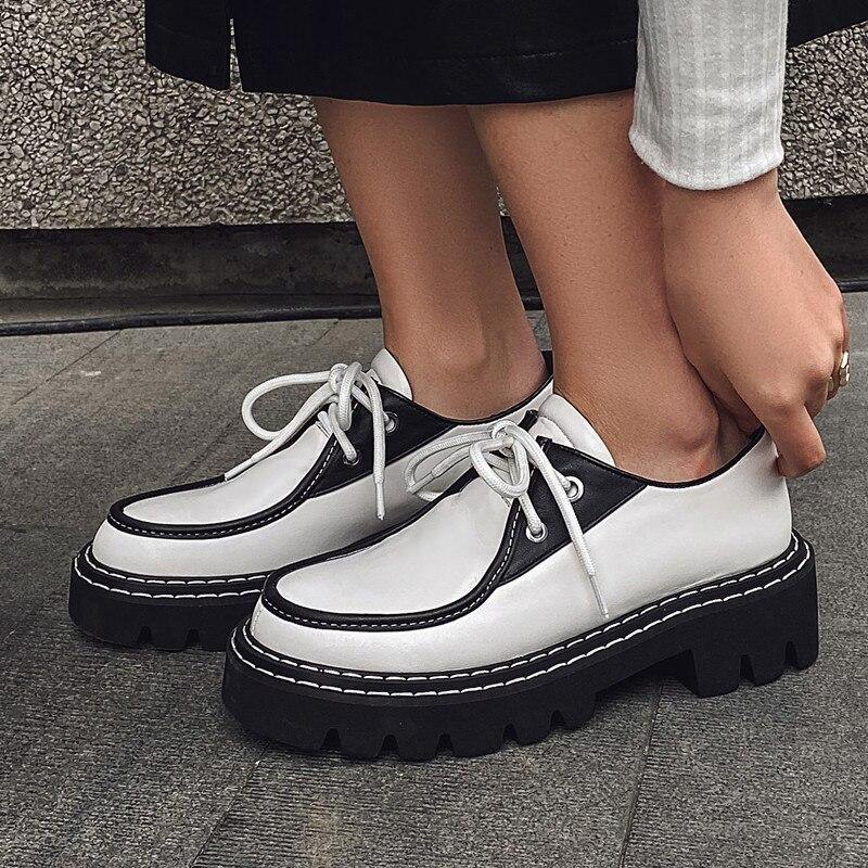 Женская обувь из натуральной кожи; Женская обувь на плоской платформе в стиле ретро; Обувь на толстой подошве со шнуровкой; Черные туфли на п...