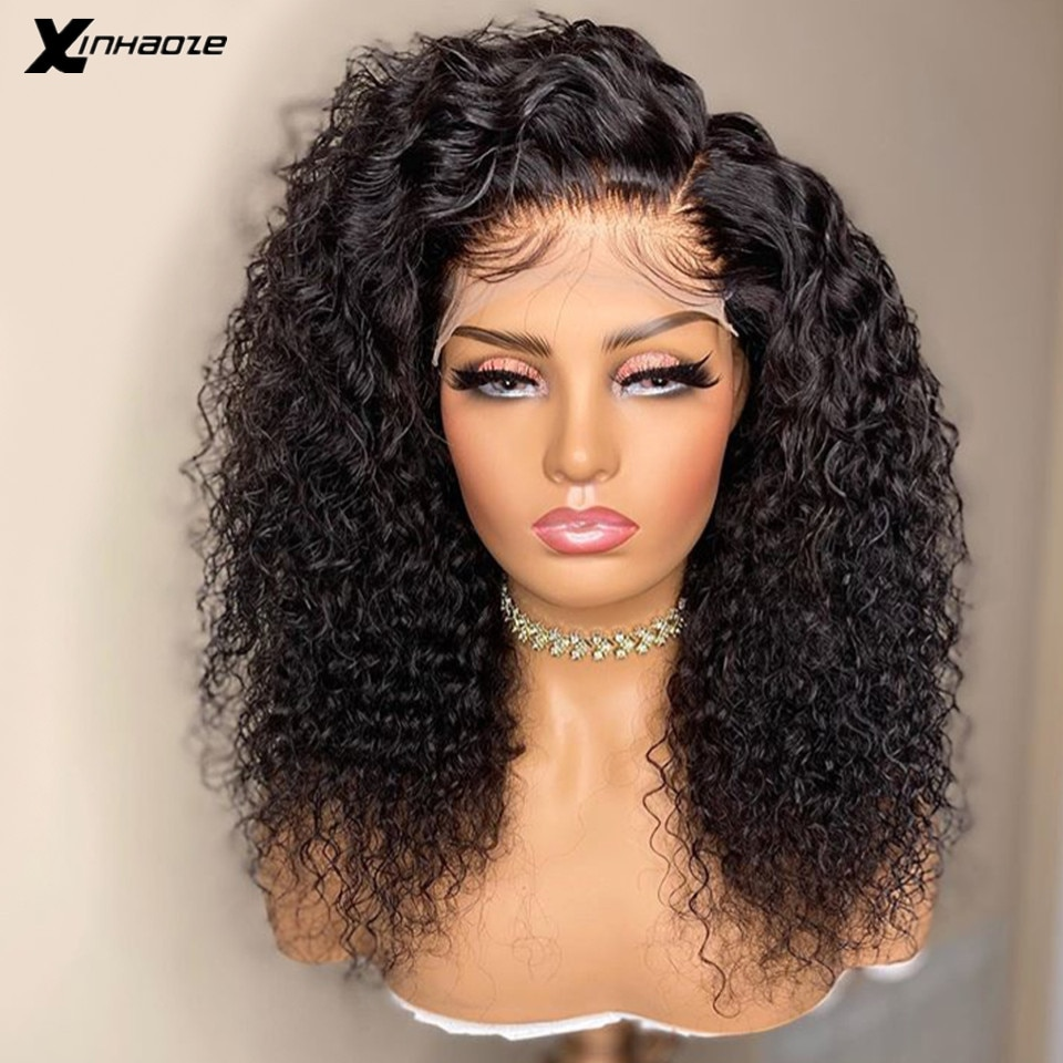 Peruvian 5*5 Silk Base Lace Front Human Hair Wigs with Baby Hair 250 Density Kinky Curly Side Part Lace Front Wigs For Women