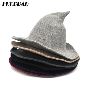 FUODRAO Halloween Party Witch Wizard Hats Women Solid Color Kinitted Wool Bucket Hats Masquerade Cosplay Magic Hat M151