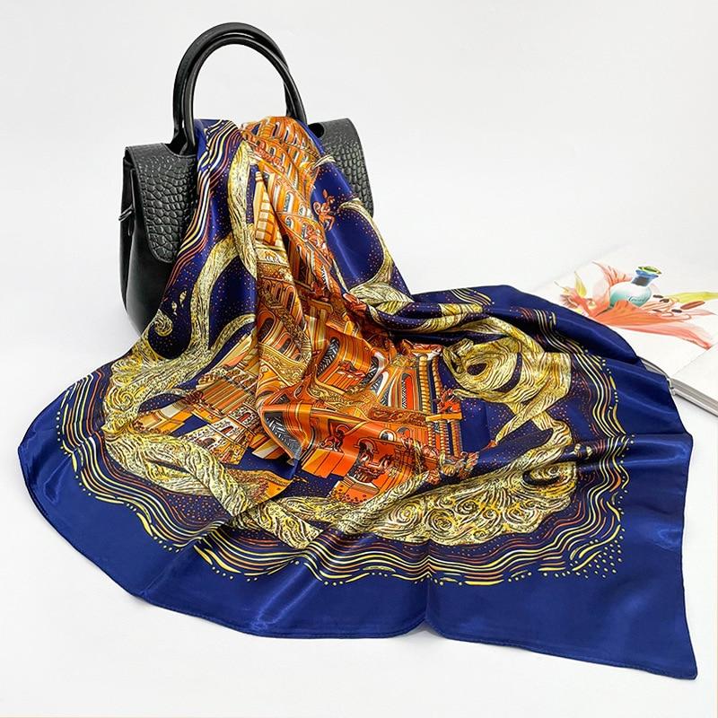 New Silk Scarf Women's Large Square 90cm Baotou Shawl Travel Custom Wholesale Satin Scarf