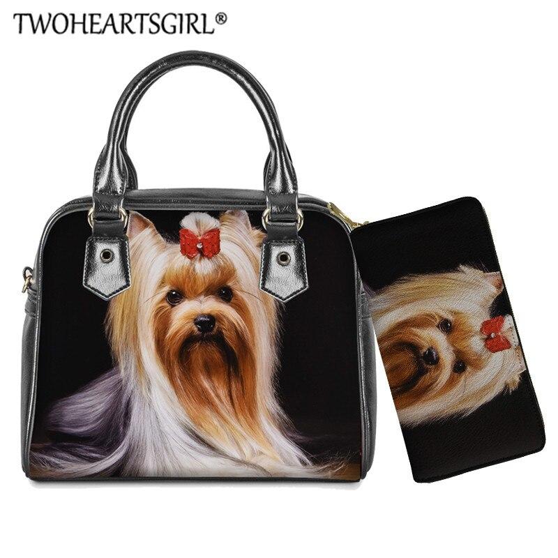 Bolsa de Ombro para Mulheres Bolsas do Plutônio Twoheartsgir Impressão Yorkshire Terrier Superior-alça Bolsas Casuais Totes Bolsa Conjunto Feminina