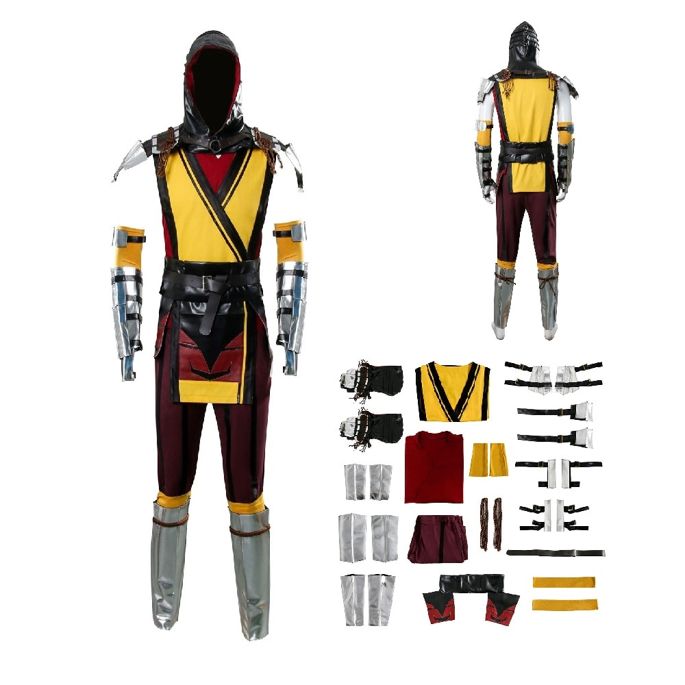Mortal Kombat 11 SCORPION Cosplay Costume Suit Full Set Game Mortal Kombat Halloween Cosplay Sets