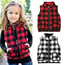 4 Colors New Plaids Girls Kids Fall Sweatshirt Outfits Zipper Jacket Waistcoat Sleeveless Coat Autumn Outwear