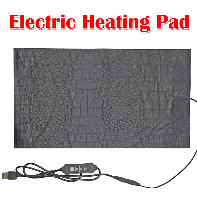 3 Modes Adjustable Temperature Electric Heating Pad PU Leather Crocodile Pattern USB Keep Warm Heated Mat for Cat Dog Neck Back enlarge