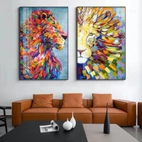modern nordic colorful lion poster abstract watercolor animals canvas painting home decoration wall art pictures for living room