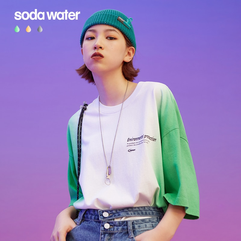 Sodawater mulheres mergulho tintura tshirt homme verão mulher tshirts algodão mergulho tingido streetwear roupas femininas moda 2020 tendência 1198s20