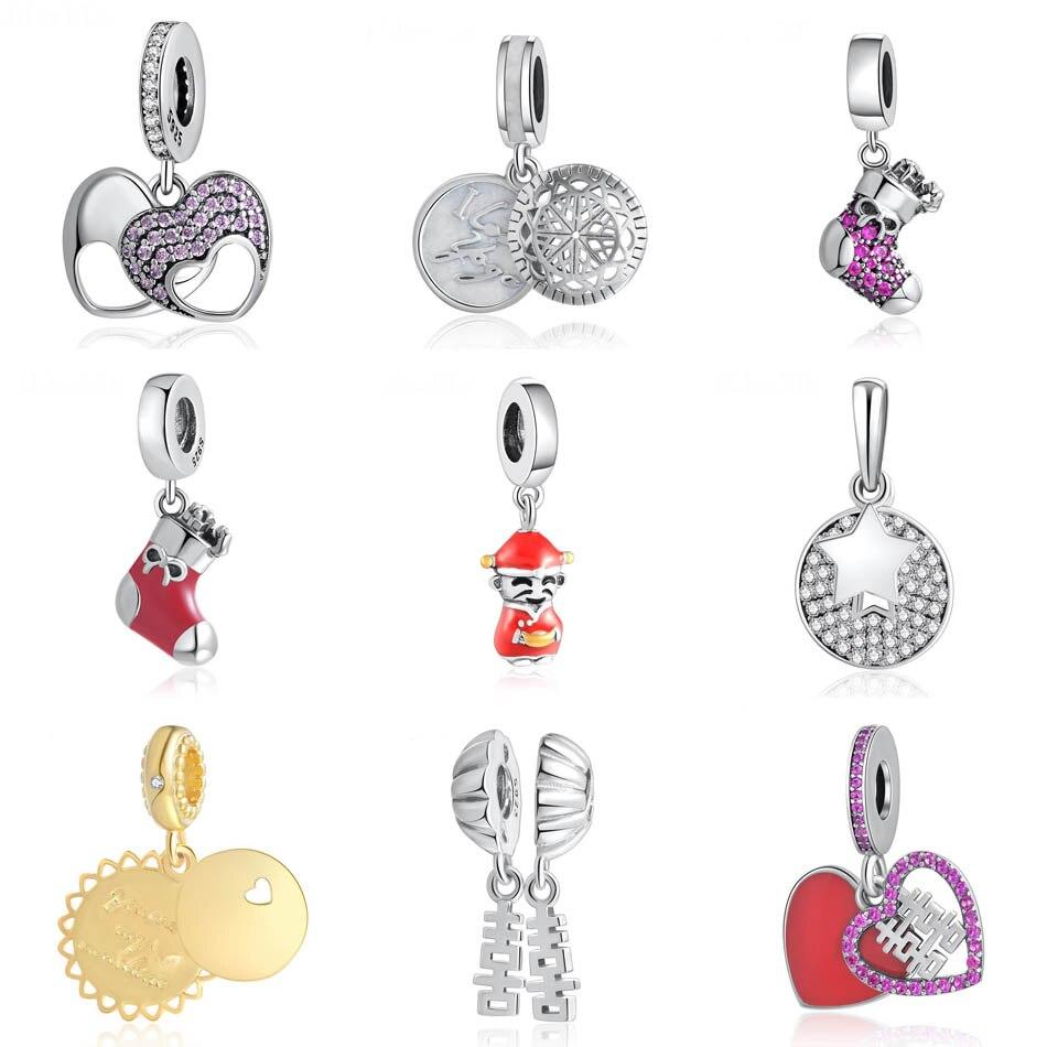 S925 cuenta verdadera Yoga amor corazón madre Navidad media sol colgante encanto adecuado para damas pulseras DIY joyería