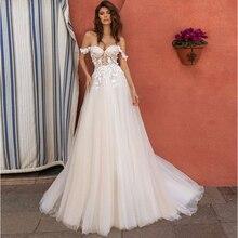 Élégant hors épaule bohème robes de mariée nouveau 3D fleur a-ligne dentelle robe de mariée robes de Novia 2020