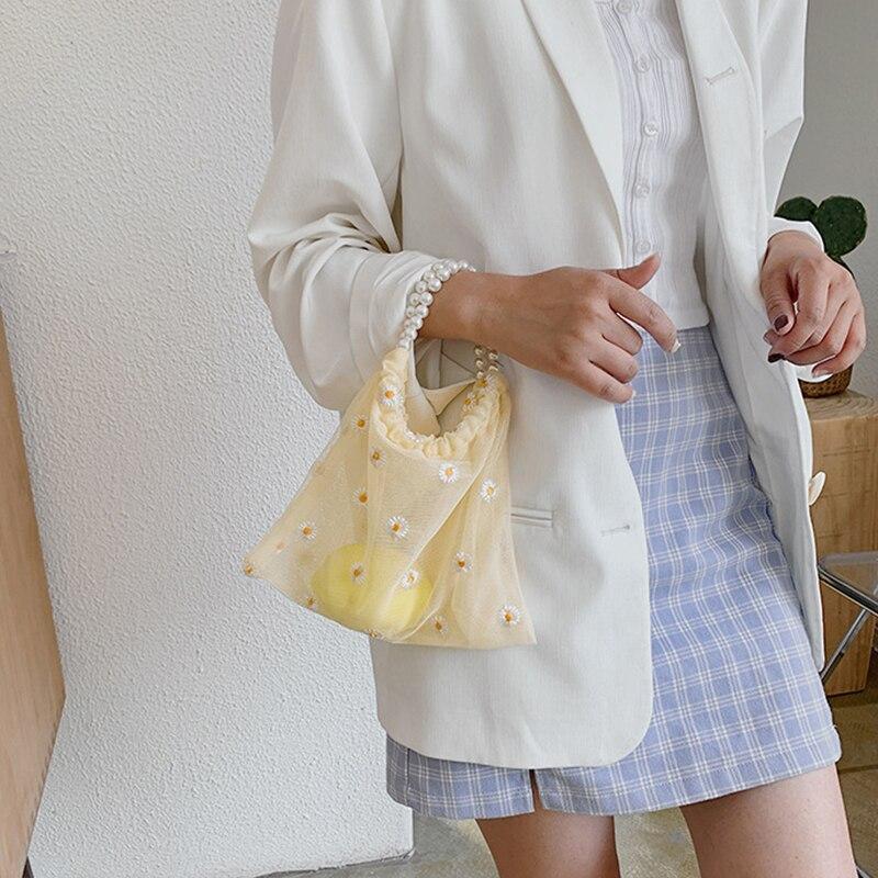 Women Mesh Shoulder Bags Daisy Design Ladies Floral Handbag Casual Tote Literary Books Bag Shopping Bag For Girls Pearl Bag