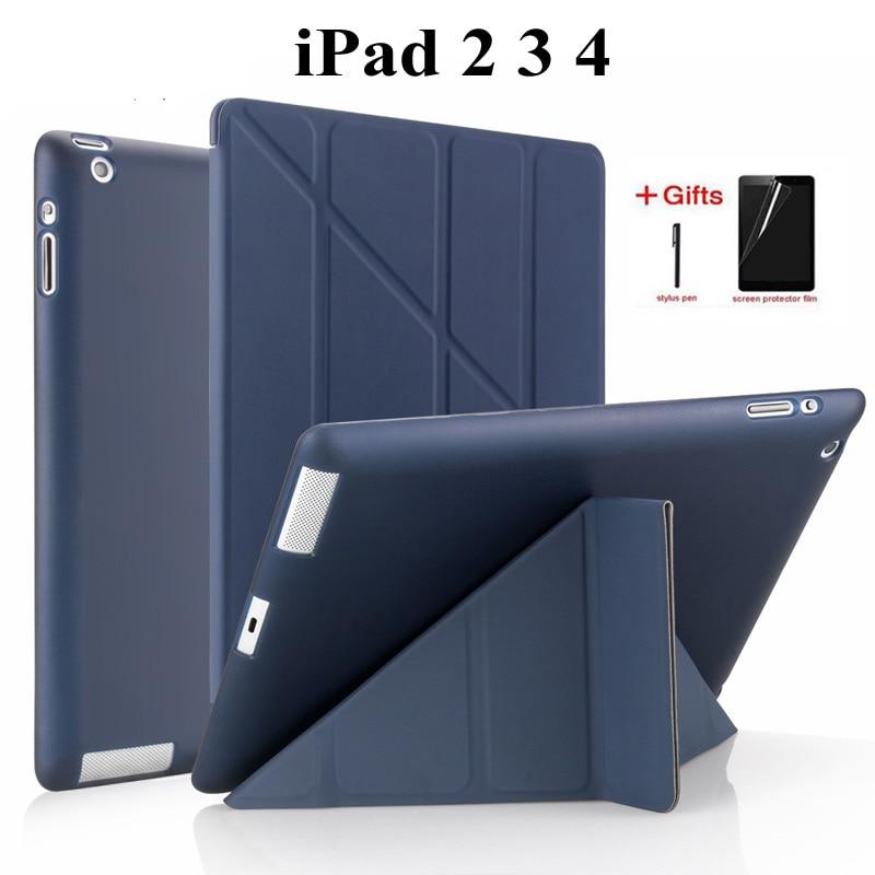 Slim Flip Stand PU Leather case For Apple ipad 2 3 4 PU leather Full cover for ipad 234 smart cover for iPad 2/3/4 Case+Film+Pen