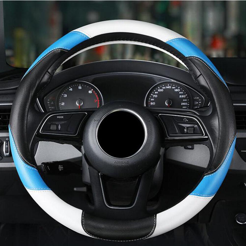Car Steering Wheel Cover Breathable Anti Slip Pu Covers Suitable 38cm Auto Protective Decoration