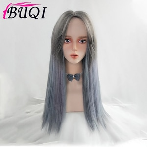 BUQI Synthetic Long Straight Womens Wig Part Side Hair Ombre Wigs Heat Resistant Gradient Purple Gray Blue Wigs for Women