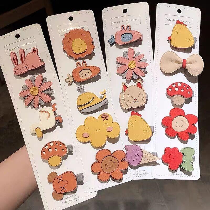 5pcs /set New Girls Cute Cartoon Fruit Flower Hair Clips Children Baby Knitting Plush Soft Hairpins Kids Hair Accessories недорого