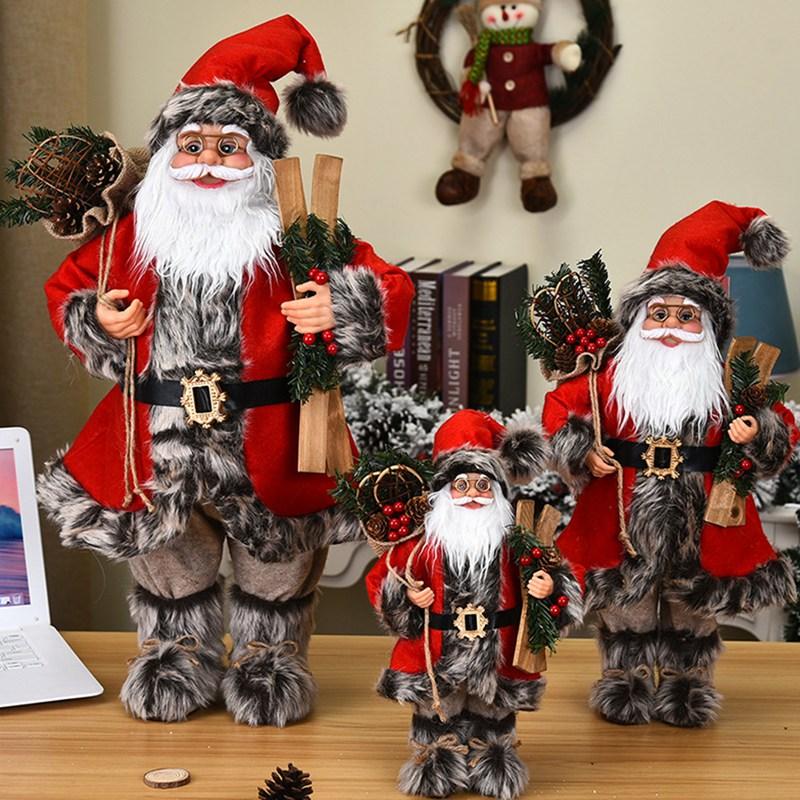 30/45/60cm natal grande papai noel bonecas ornamentos de pé papai noel estatueta boneca natal decoração para casa presente dos miúdos