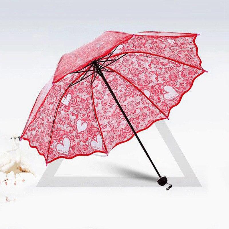 Paraguas plegables transparentes de plástico EVA de encaje bonito de princesa para mujeres paraguas a prueba de viento a prueba de lluvia y sol Unbrella