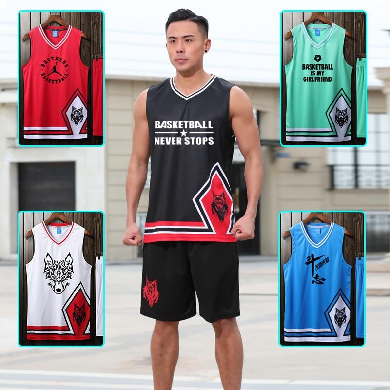 2020 traje de baloncesto con diseño de cabeza de Lobo para hombre, jersey universitario personalizado, pantalones cortos de baloncesto para hombre con bolsillos dobles 201
