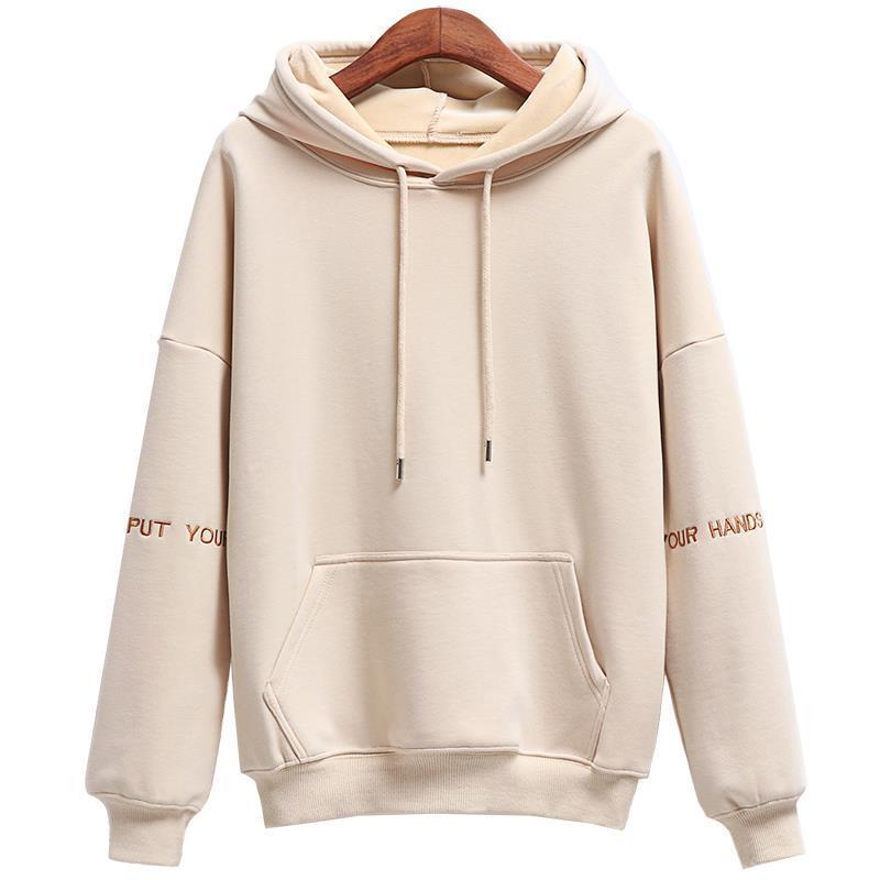 Толстовки с капюшоном, толстые флисовые толстовки, осень 2021, корейская мода, Женское пальто, зимние пуловеры, топы с вышитыми надписями