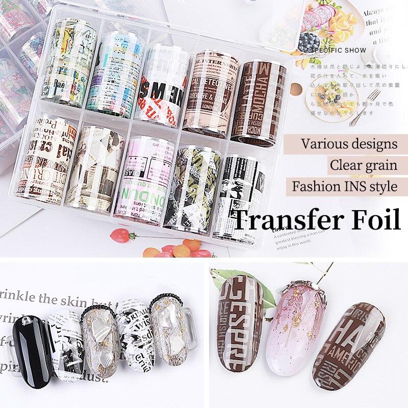 PinPai 2,5*50cm Uña de colores mixtos láminas serie flores cielo papel adhesivos de transferencia de manicura pegatina de decoración de uñas accesorios de uñas