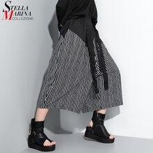 Nouveau femmes 2020 gris rayé longues jambes larges pantalon avec bande mollet longueur élastique taille dames Vintage Style Streetwear pantalon ZY020