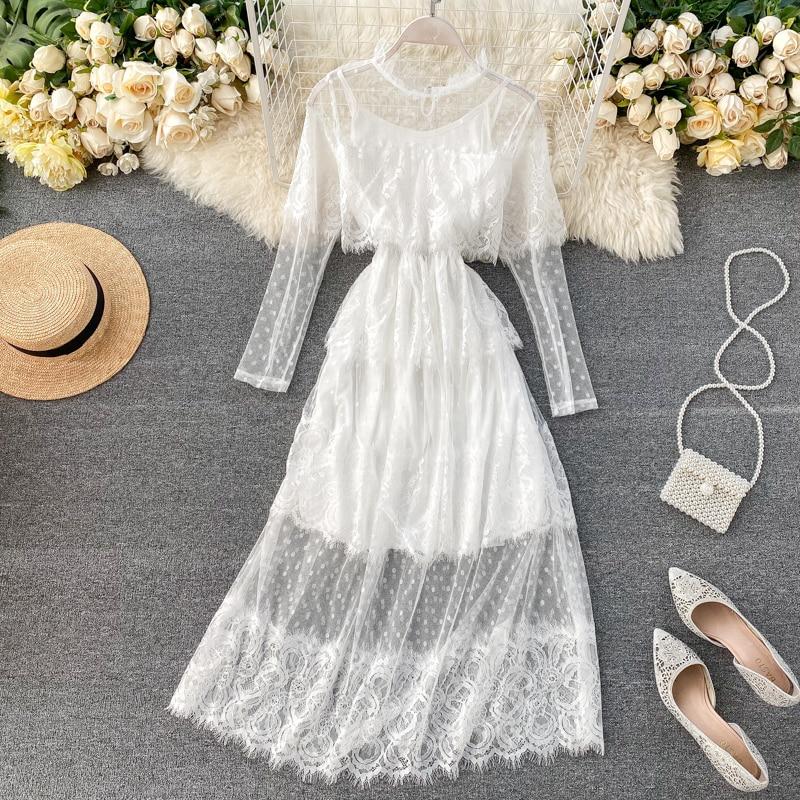 Chic Sweet Eyelash Lace Dress 2020 Spring New Women Stand Neck Long Sleeve Ruffle Vestidos Verano L143