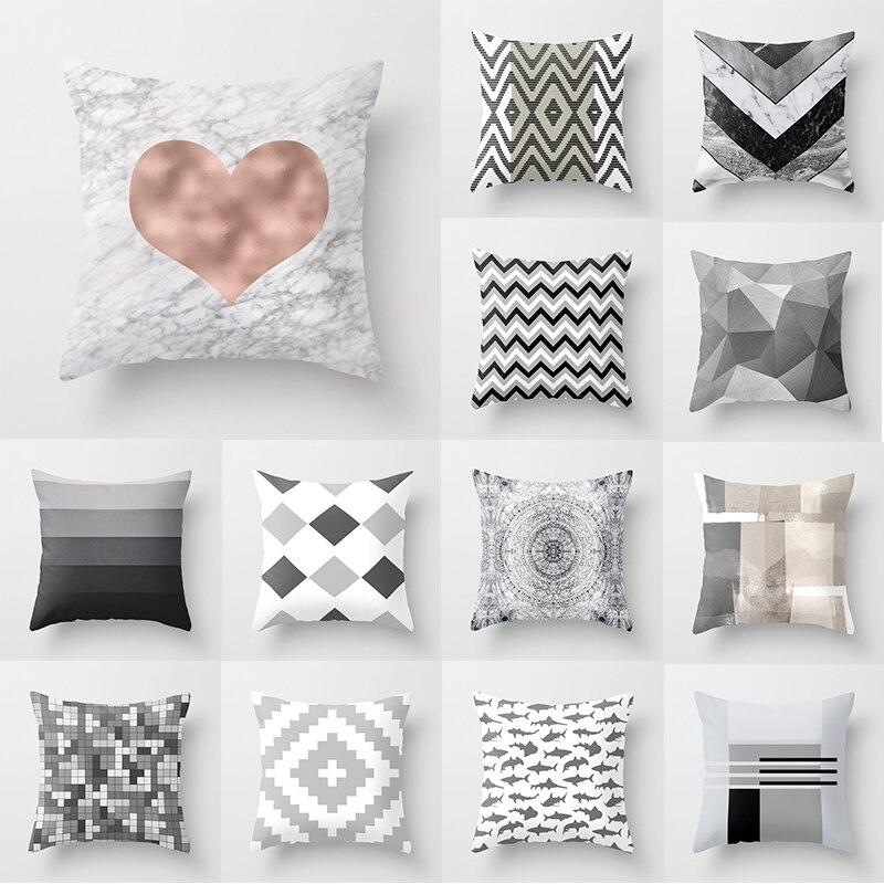 Серый декоративный чехол для подушки с геометрическим рисунком, полиэстеровый чехол для подушки, чехол для подушки в полоску с сердечками, ... чехол
