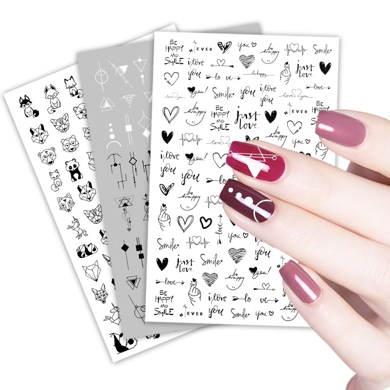 3D Flower Nail Stickers Women Face Sketch Abstract Butterfly Image  Girl Nail Art Decor Sliders Manicure Stickers for Nails